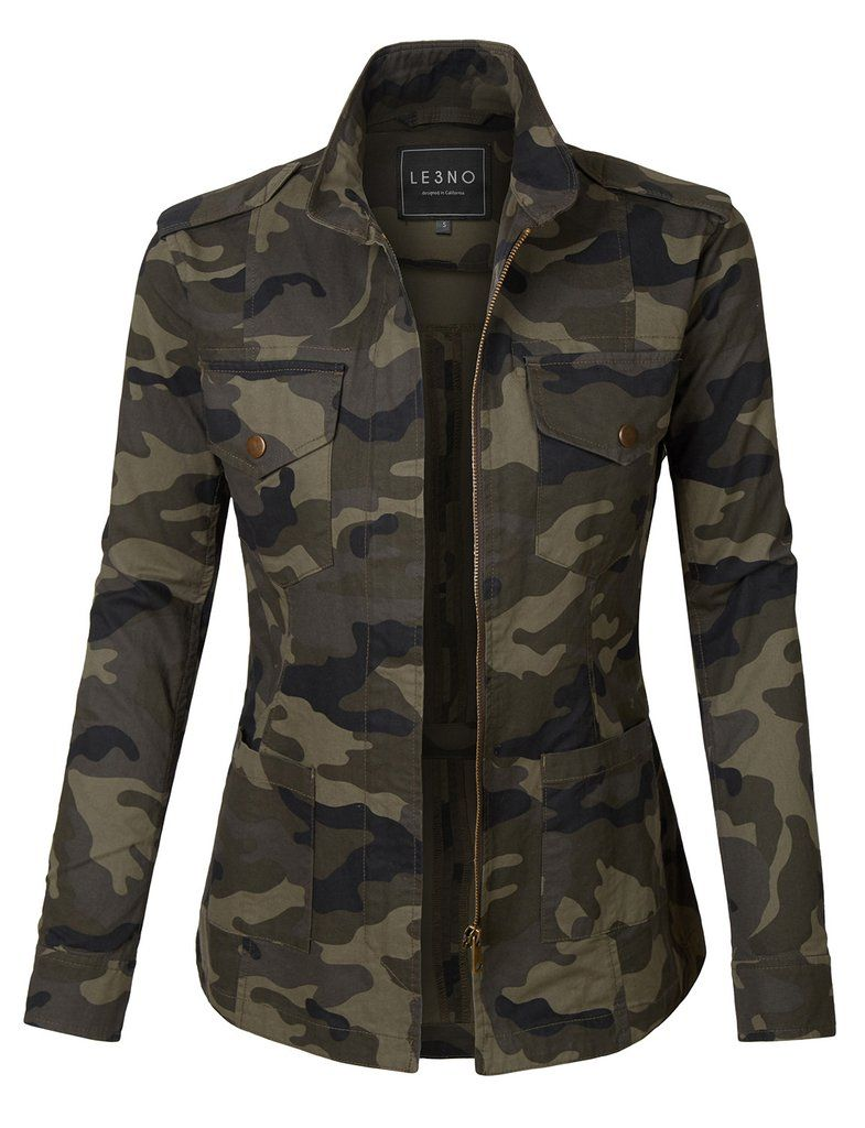 Le3no Womens Long Sleeve Camo Print Military Anorak Jacket With Pockets Camo Jacket Women Military Anorak Jacket Camo Fashion
