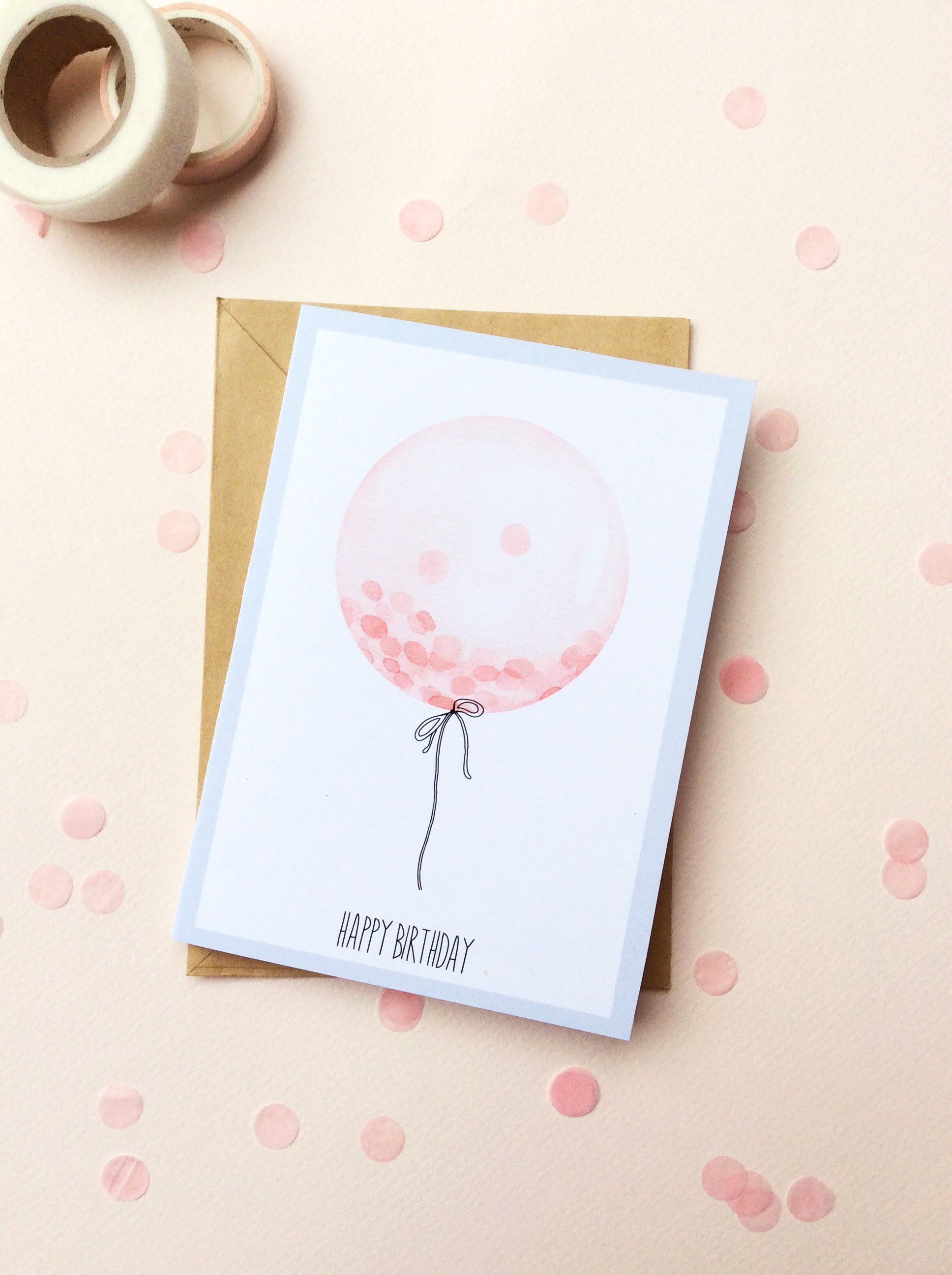 Greetings Cards Watercolor Happy Birthday Watercolor Balloon