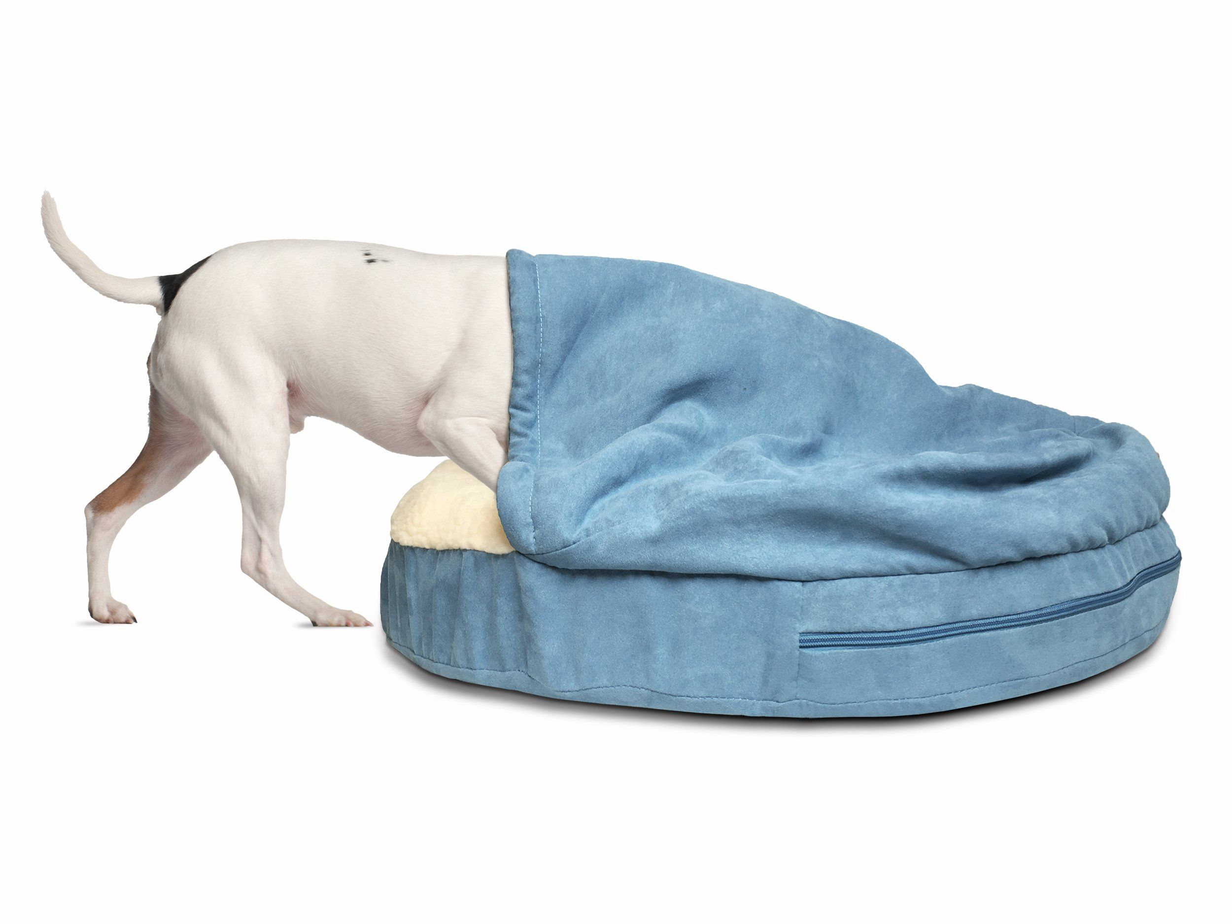 Furhaven Pet Dog Bed Orthopedic Round Faux Sheepskin Snuggery Burrow Pet Bed For Dogs And Cats Blue 26inch Co Mattress Dog Bed Hooded Dog Bed Dog Pet Beds