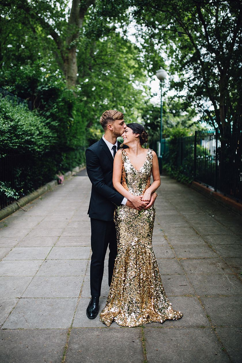 Wiltons Music Hall Wedding London Tina And Rory Unconventional Wedding Dress Sequins Wedding Gown Sequin Wedding