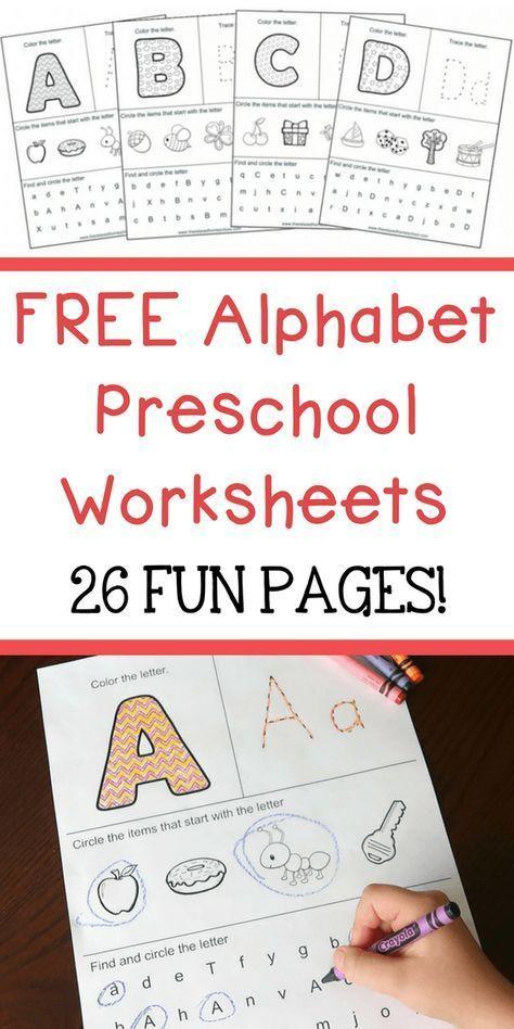 Free Alphabet Preschool Worksheets 26 Fun Pages Preschool Learning Activities Preschool Worksheets Preschool Learning Learning letters preschool worksheets