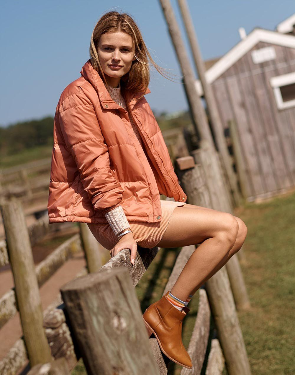 9ced9588d01 madewell travel buddy packable puffer worn with corduroy a-line mini skirt  + the charley boot.