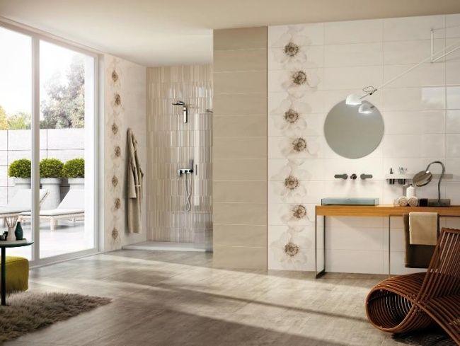 AuBergewohnlich Badezimmer Fliesen Atlas Concorde Weiß Beige Blumen Dusche Bereich