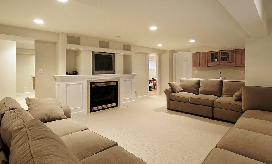 Basement Stunning Basement Finishing Ideas With Upholstered Sofa U Beauteous Ideas For Finishing Basement Creative