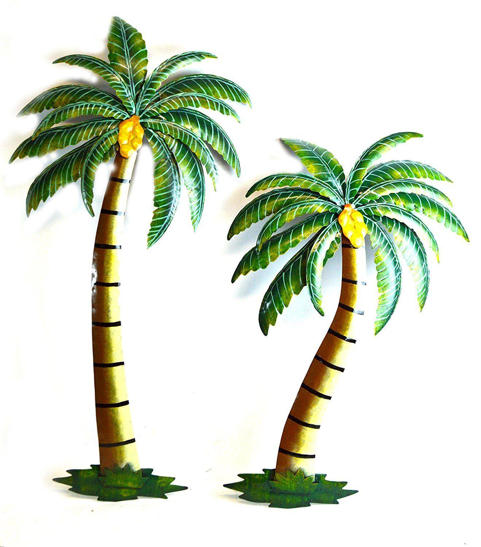 Beautiful u metal set of palm tree with coconuts tropical island