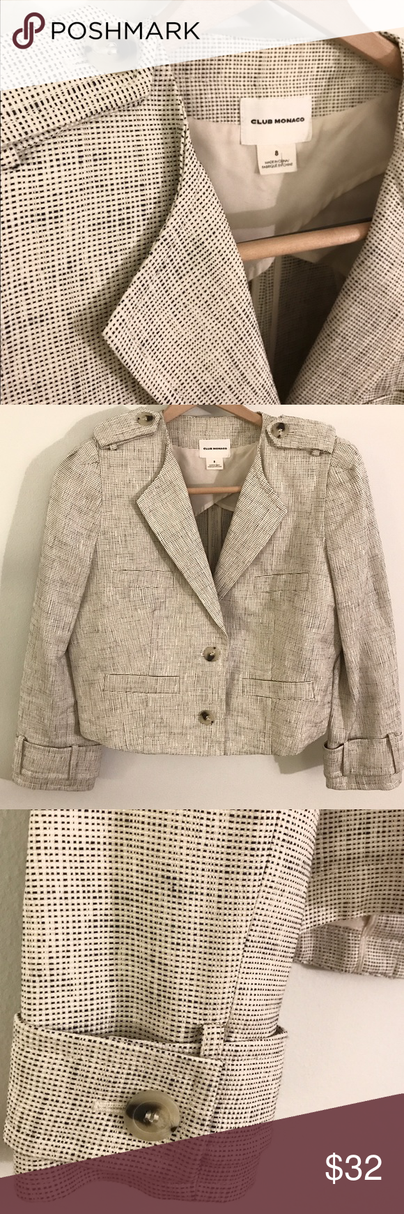 Club Monaco Woven Blazer Very cute, mid-weight Club Monaco blazer in a woven cream and very dark navy fabric.  Horn-look buttons at the front and at cuffs.  Very good condition - one tiny (2mm) stain on a lapel, which is only noticeable upon very close inspection.  Shell: 55% cotton, 20% viscose, 15% nylon, 10% linen; lining 100% polyester. Club Monaco Jackets & Coats Blazers