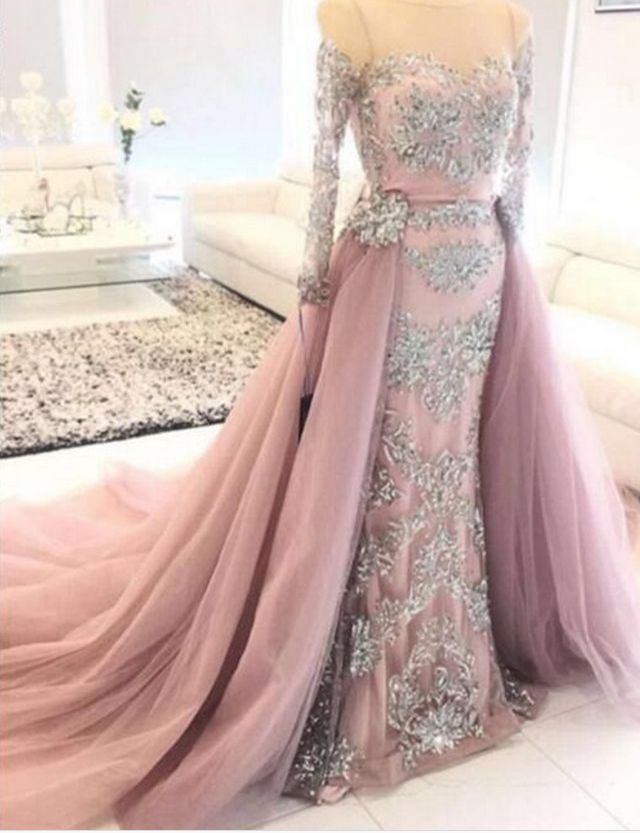 Luxury Lace Appliqued Evening Dresses 84fb5cf2e2d3