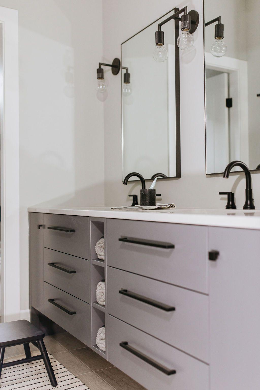 33++ Grey bathroom vanity with black hardware custom