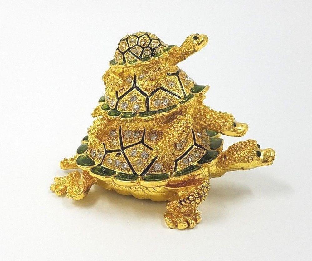Three Sea Turtles Trinket Box Green Enamel Gold Bejeweled Hinged ...