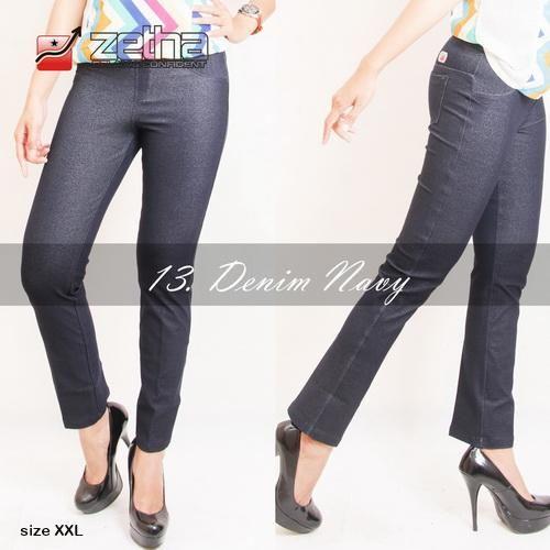 a6461e1d51aa95 Zetha Legging Celana Panjang Wanita Jeans Denim Navy Size XXL Original  Termurah https