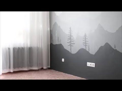 Create A Mountain Wall Mural No Art Skills Required Youtube Nursery Mural Wall Murals Mural