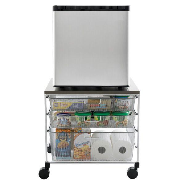 Exceptional Mini Fridge Storage Cart #18 - Platinum Elfa Mesh Compact Fridge Cart