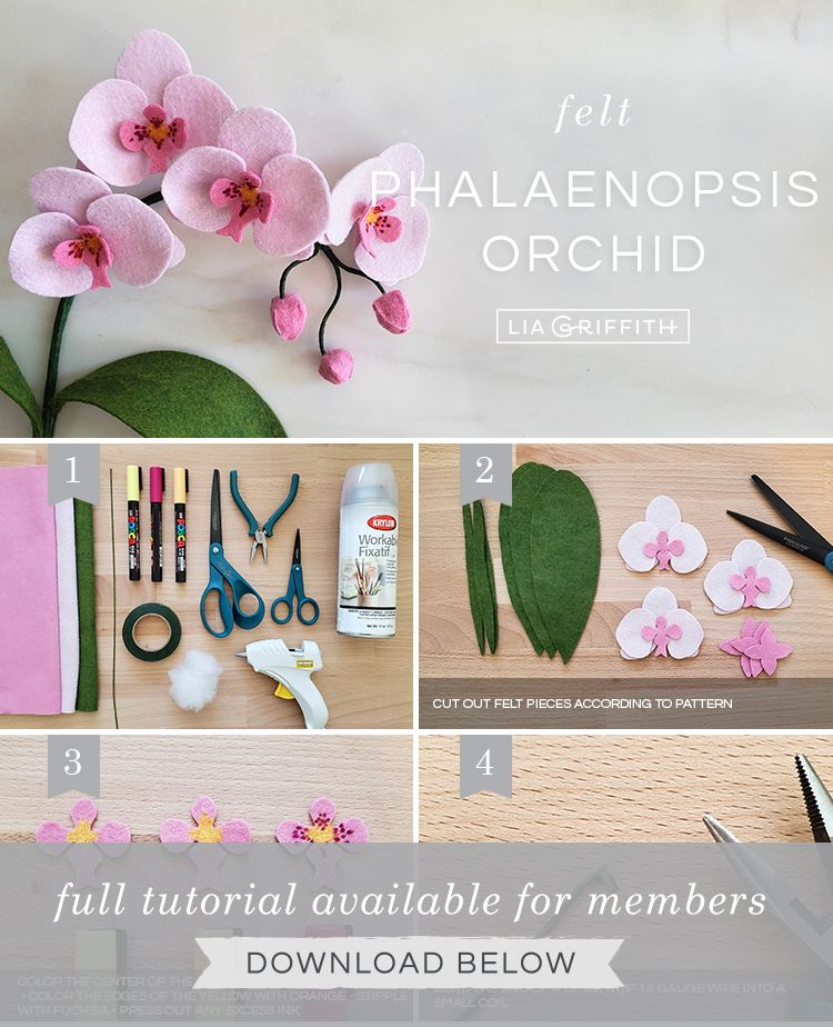 Learn How to Craft Your Own Felt Orchid Plant - Lia Griffith