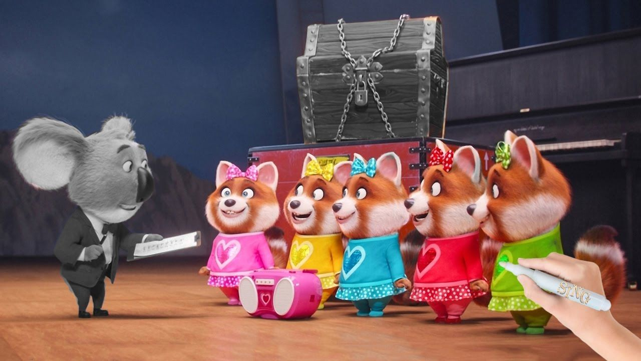 Cute Red Panda Girls And Buster Moon From Sing 2016 Animated Movie Coloring Book Pages Video For Kids Sing Movie Sing Movie Songs Coloring Books