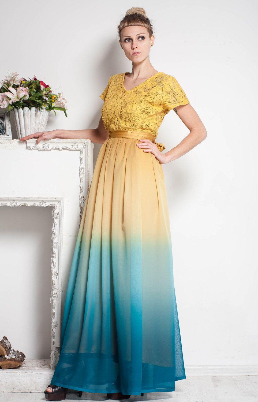Yellow maxi dress evening
