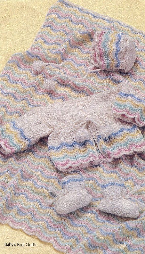Baby Pattern Book - 2 Layette Sets - 1 Knit and 1 Crochet - Coat ...