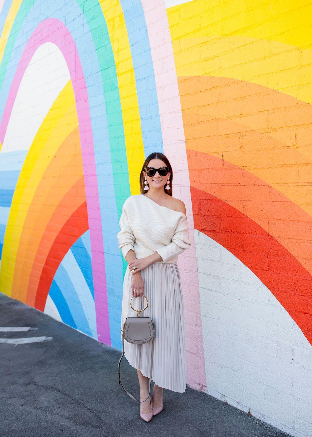 Asymmetrical Pleated Skirt | Rainbow Mural Los Ang