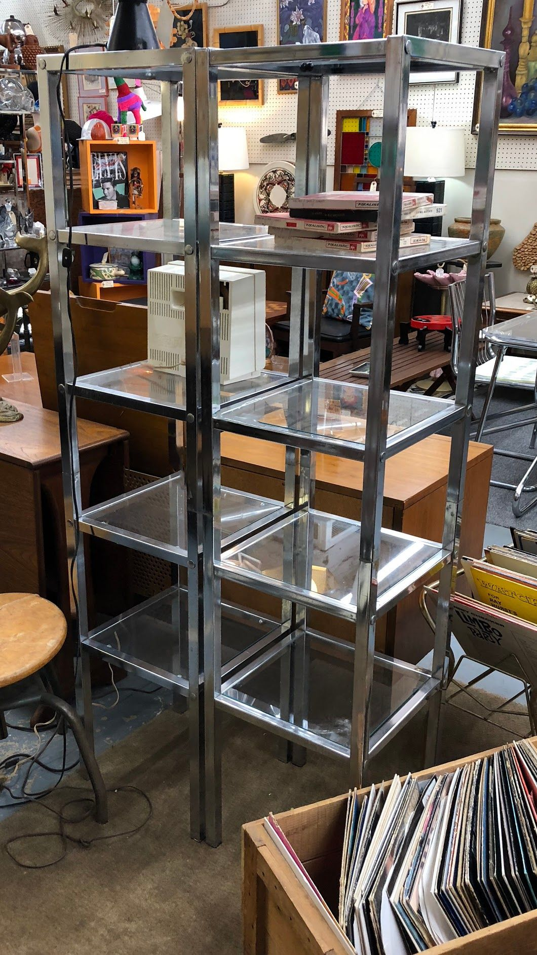70 S Chrome And Glass Etagere 60 Tall 135 Mid Century Dallas