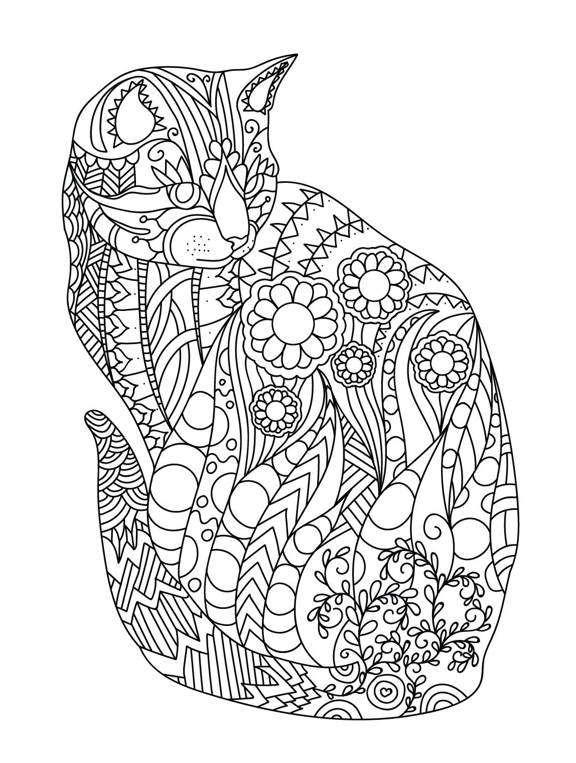Coloring pages relaxing - Cat Colorish Coloring Book For Adults Mandala Relax By Goodsofttech