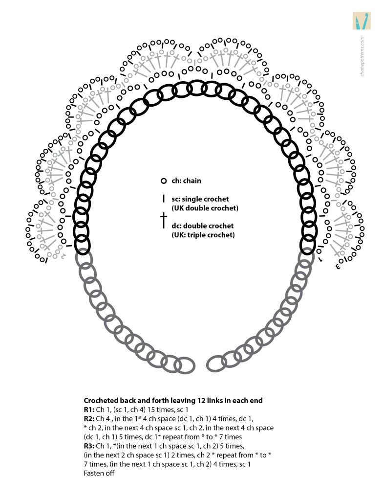 Necklace Chart Croch Pinterest And Crochet Single Diagram In A Chain En Una Cadena