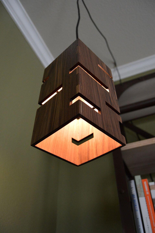 geometric wooden pendant light