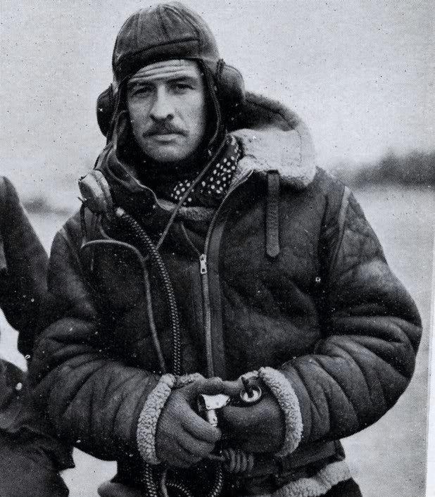 A WWII RAF Pilot wearing Leslie Irvin's Sheepskin Flying Jacket ...