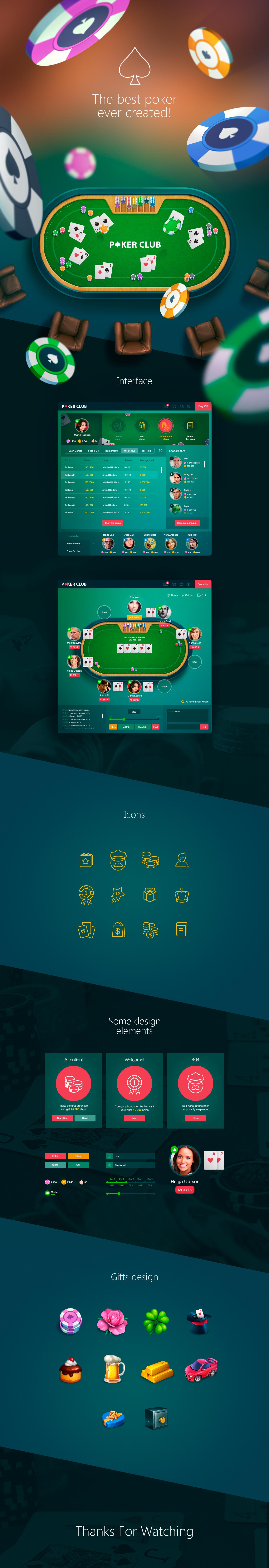 Poker game app for social network on Behance Poker