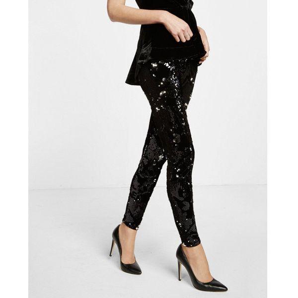 f7551dee26259 Express Velvet Sequin Embellished Legging ($48) ❤ liked on Polyvore  featuring pants, leggings, black, express pants, express leggings, wide-leg  pants, ...