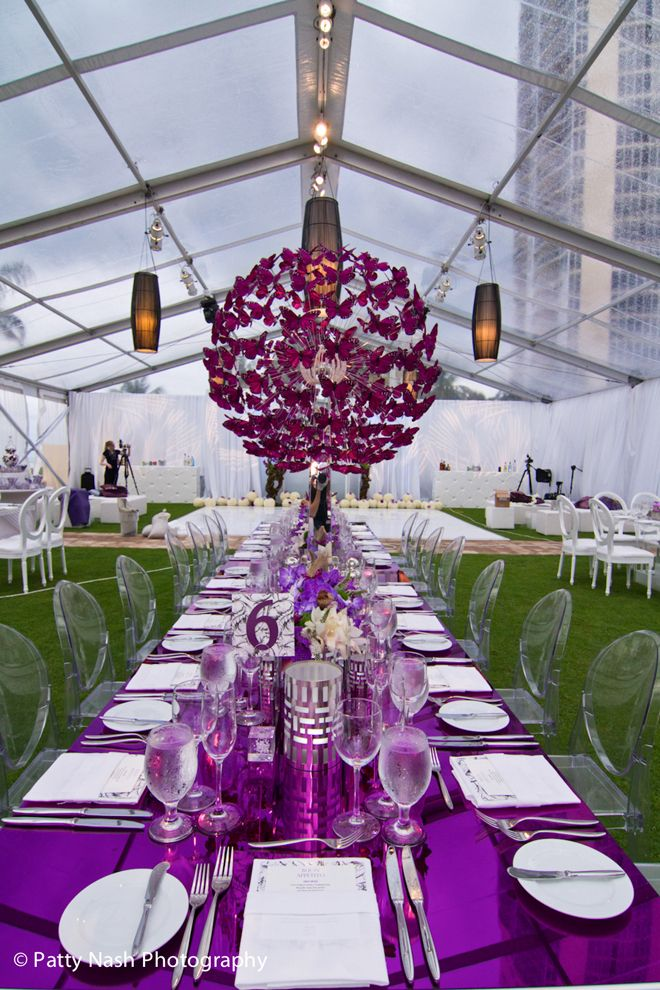 Long Table Wedding Reception Purple Erfly Centerpieces Belle The Magazine