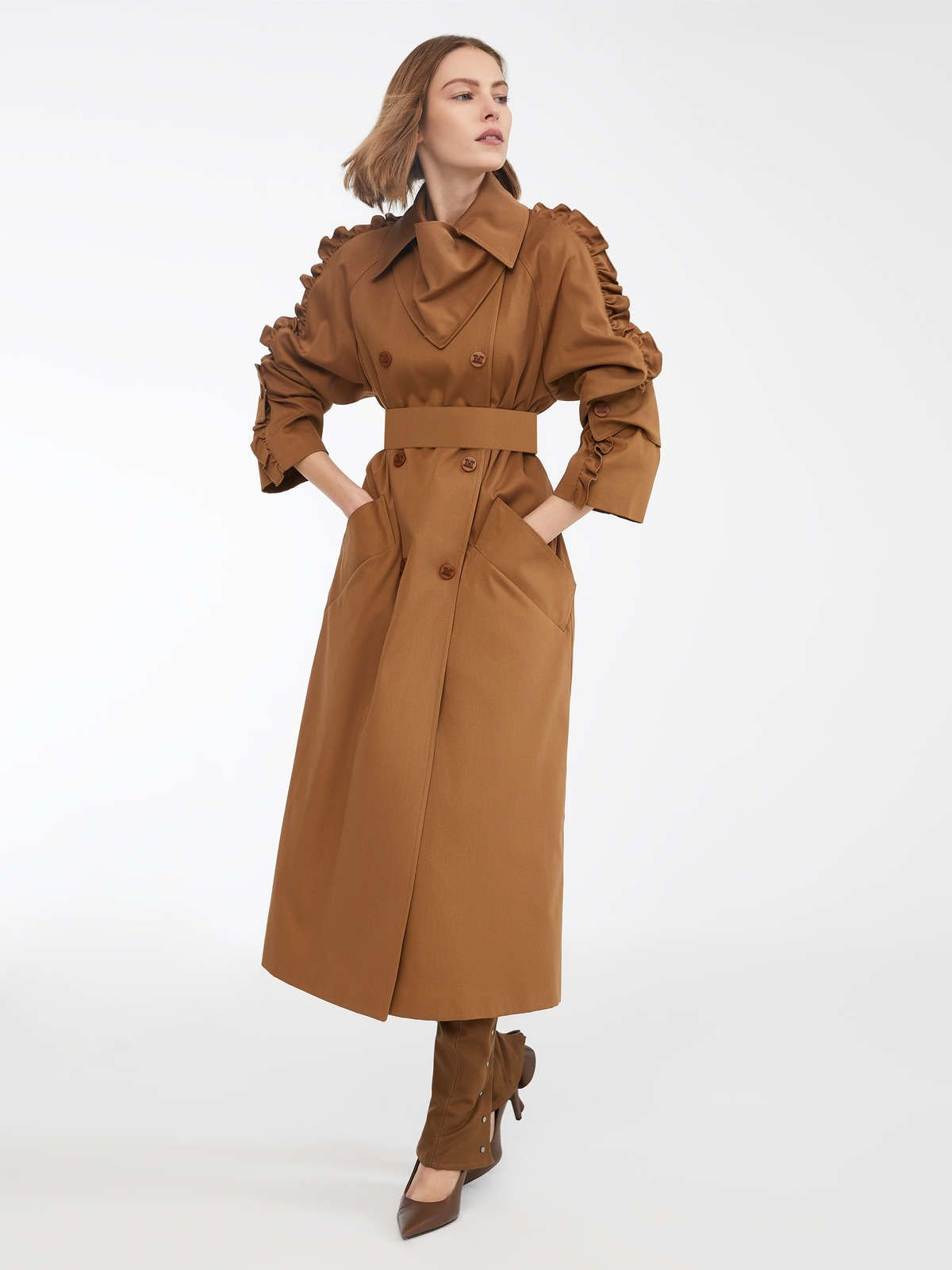 8e2fe3186eba69 Cotton trench coat, tobacco in 2019 | My Style | Coat, Jackets, Max mara