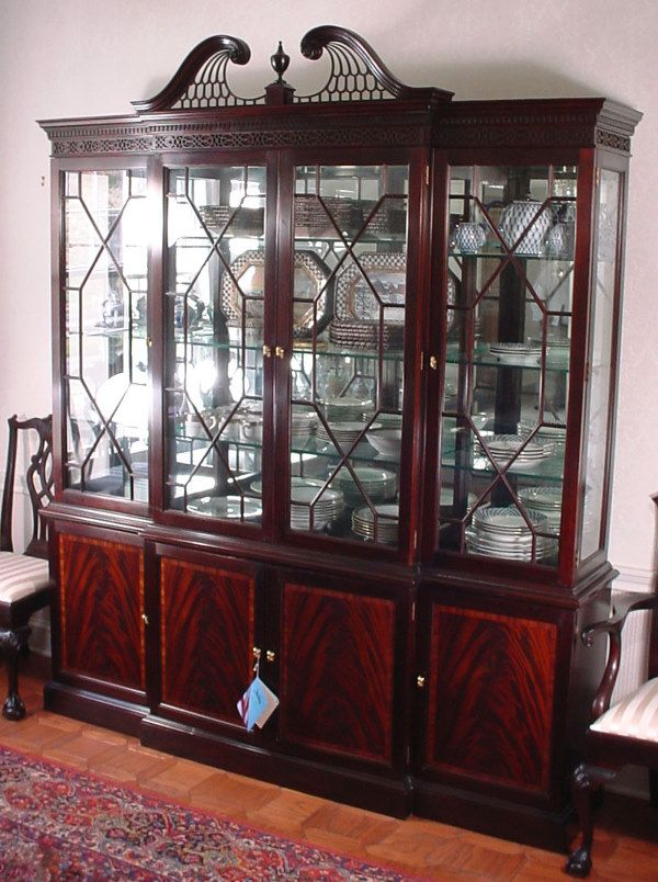 Stickley Mahogany Breakfront China Cabinet Divine Dining
