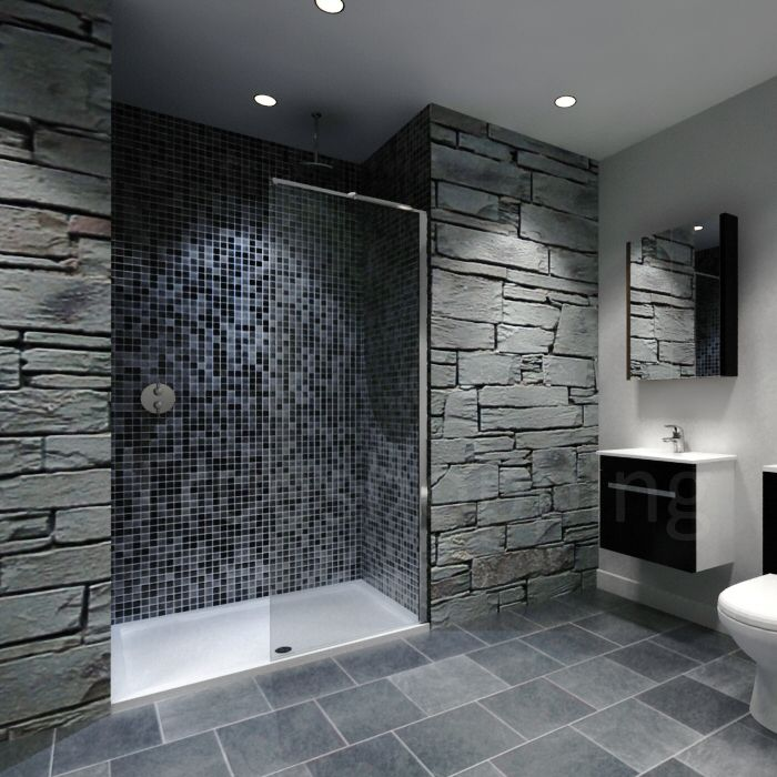 Recess Walk-in Shower Enclosure with natural stone wall feature ...