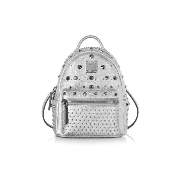 MCM Handbags Stark Special Bebe Boo Silver Leather Backpack ($1,530) ❤ liked on Polyvore featuring bags, backpacks, handbags, silver, mcm bags, leather daypack, leather backpack, white backpack and silver backpack