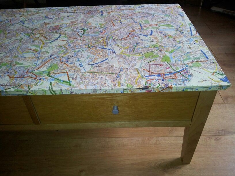 Decoupage my coffee table with maps DIY Pinterest Decoupage