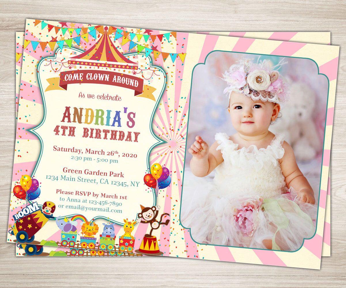 Girl Carnival 1st Birthday Invitation Carnival Photo Invitation Pink ...