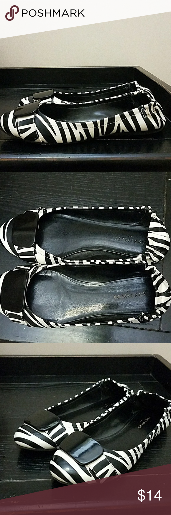 Women's Flats Zebra stripped woman's flats.  Cute for work or casual with jeans. Ann Taylor Factory Shoes Flats & Loafers