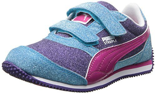 d3da83fcf88a Glitter textile upper, with patent PUMA Formstrip Dual strap hook-and-loop  closure for easy on/off Cushioned midsole for comfort