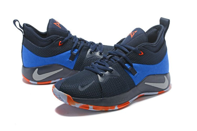 timeless design 11d82 6feaa Nike Zoom PG2 Mens Original Basketball Sports Home Craze Navy Blue Orange