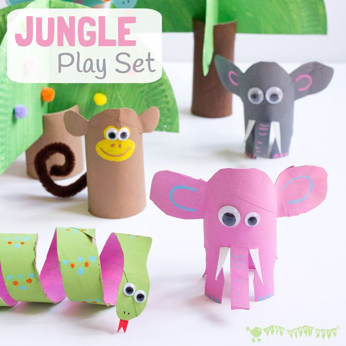 This Jungle Scene Playset Looks Amazing And Is So Easy To Make Using Toilet Paper Roll Crafts Such A Great Way Spark Creativity Imaginative Play