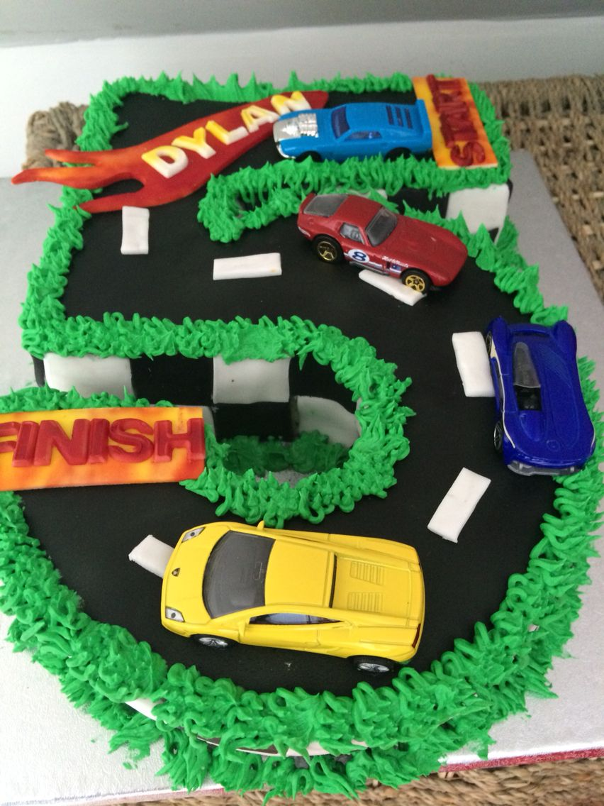 Age 5 Hot Wheels Car Birthday Cake