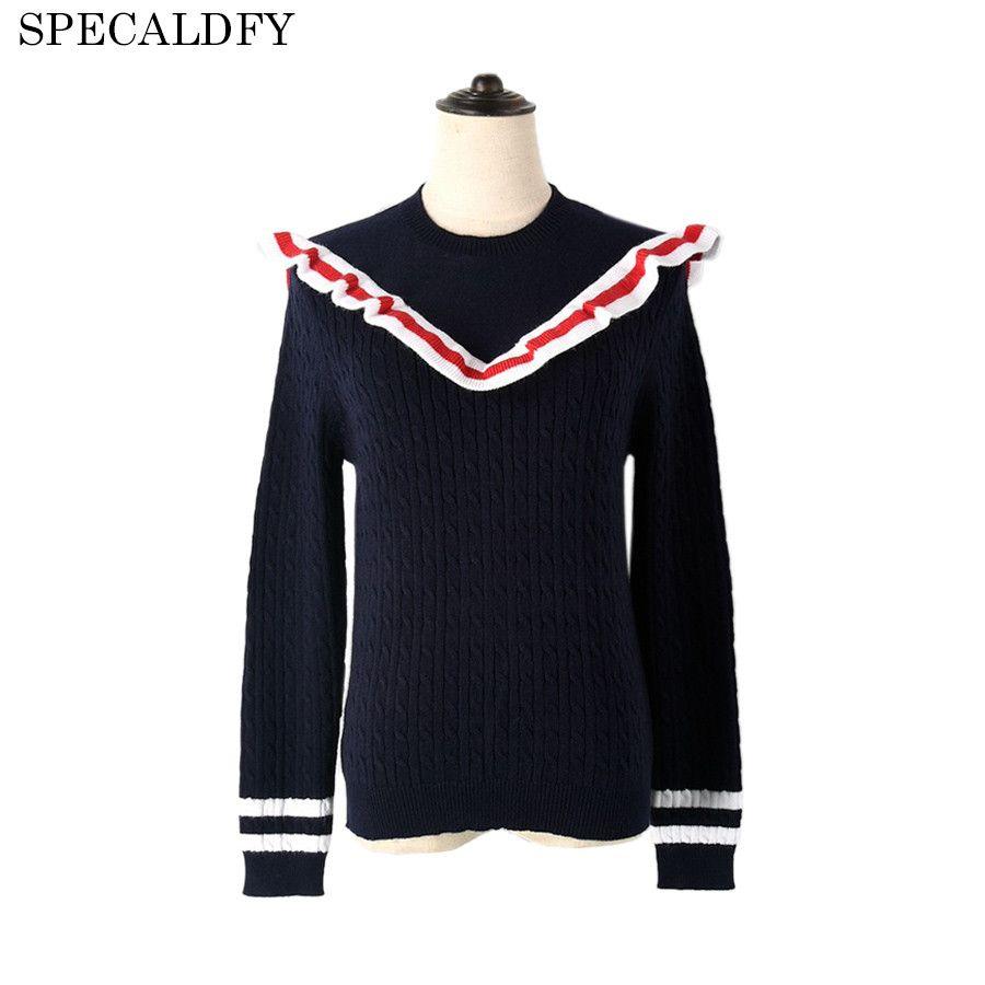 runway designer luxury autumn knitted sweater women long sleeve