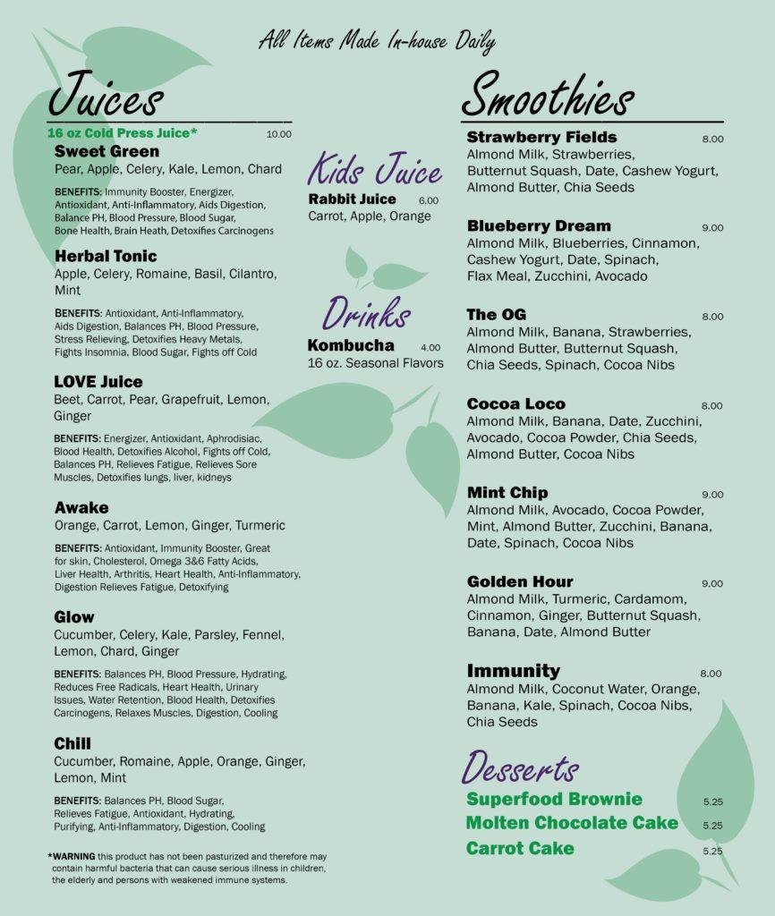 Menu with images juice bar kids juice menu design
