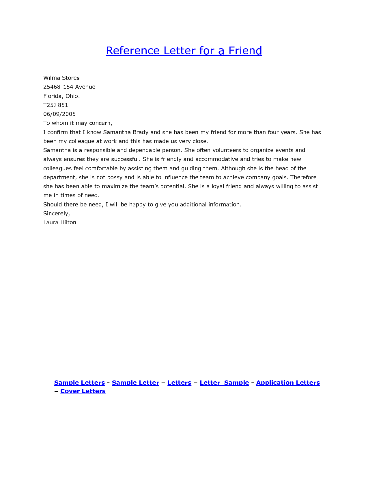 Sample Reference Letter For A Close Friend Cover Letter Examples