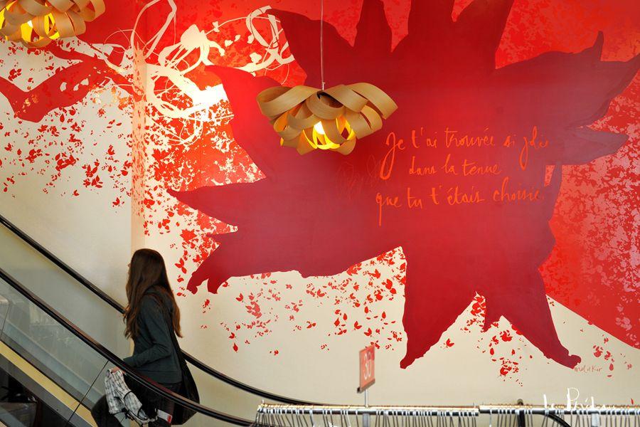 Décoration murale pour les vitrines de Promod à Vienne