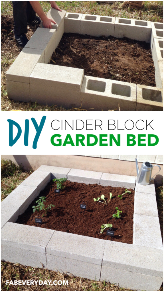 DIY Cinder Block Raised Garden Bed Project Instructions by Fab Everyday!