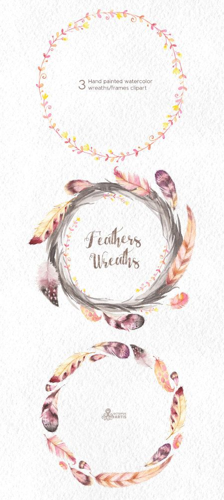 Feathers Wreaths Clipart 3 Hand Painted Watercolor Frames