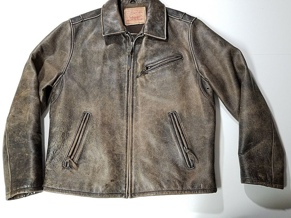 Levi's Brown Genuine Leather Jacket Levis Distressed Heavy