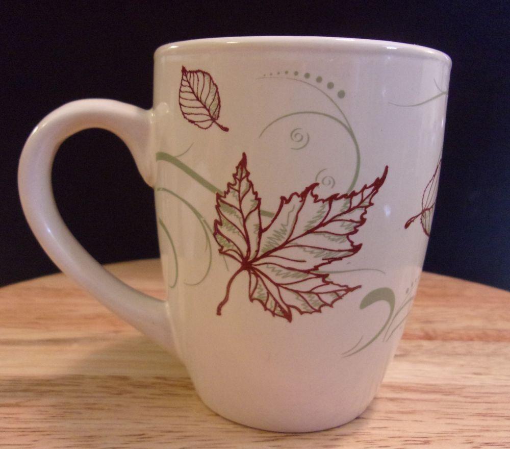 Ceramic Coffee Mug Leaves California Pantry 2009 Cream Red Green 12 Oz Californiapantry Mugs Coffee Mugs Red Green