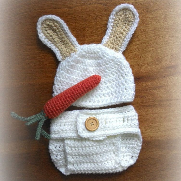 Newborn Bunny Costume Set White and Tan Crocheted by ArmchairDiner