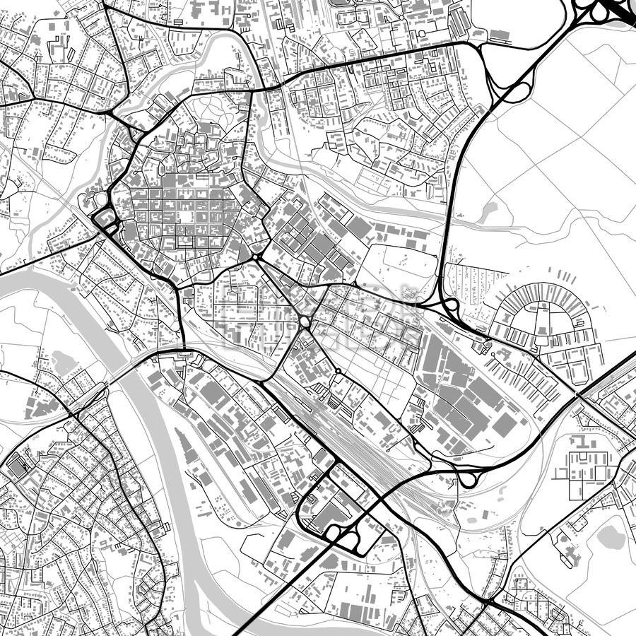 Hanau Germany vector map with buildings